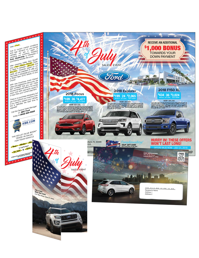 """<div class='row-fluid'> <div class='span6'> <strong>Features:</strong><br> • 9.75 x 15 tri-fold self mailer<br> • Customized 4/4 artwork<br> • Printed on 80lb gloss cover<br> • Mails as a letter at 6 x 9.75<br> • Full form variable data </div> <div class='span6'> <strong>Suggested Add-Ons:</strong><br> • Standard drop ship postage<br> • """"Year-Make-Model"""" list with appended values<br> • NCOA data base list </div> </div>"""