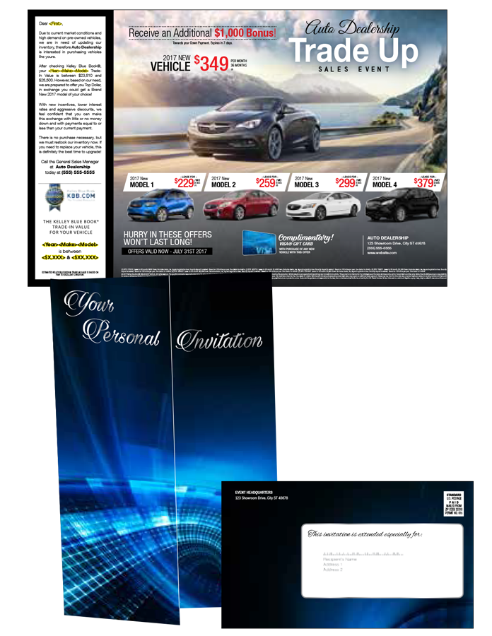 """<div class='row-fluid'> <div class='span6'> <strong>Features:</strong><br> • 9.75 x 17 tri-fold self mailer<br> • Customized 4/4 artwork<br> • Printed on 80lb coated cover<br> • Mails as a letter at 6 x 9.75<br> • Full form variable data </div> <div class='span6'> <strong>Suggested Add-Ons:</strong><br> • Standard drop ship postage<br> • """"Year-Make-Model"""" list with appended values </div> </div>"""